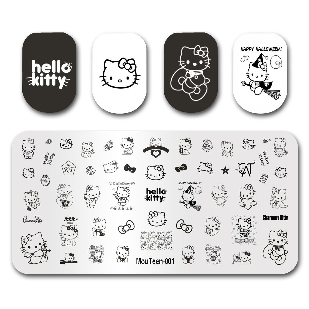 Nail Art Stamping Template Image Plate MouTeen001 Hello Kitty KT Cat Nail Stamping Plates Manicure Stencil Set For Nail Stamping