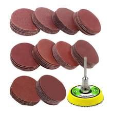 101 pces ajustaram o jogo da almofada de discos de lixamento de 2 polegadas para ferramentas giratórias do moedor de broca com placa do backer inclui 60-2000 lixa do grão