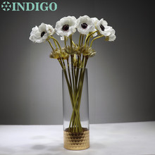 5 pcs White Anemone Flower Home Decoration Pasque flower Wedding Artificial Floral Event Party Free Shipping