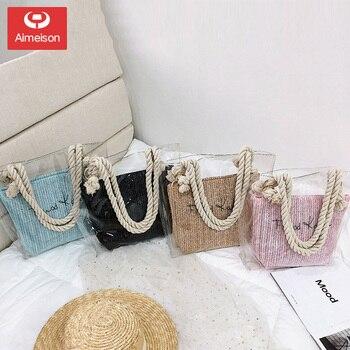 2 PCS/SET Transparent Shoulder Bags For Women 2020 Ladies  Beach Straw Bag With Rope Shoulder Bags Waterproof Handbag