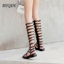 BYQDY Sexy Rivets Over The Knee Boots High Women Fashion Summer Flat Gladiator Shoes Woman Slip On Peep Toe