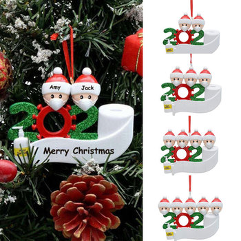 2020 Christmas Decorations Santa Claus with Mask Personalized Family Xmas Tree Ornament Quarantine Christmas Decoration for Home image