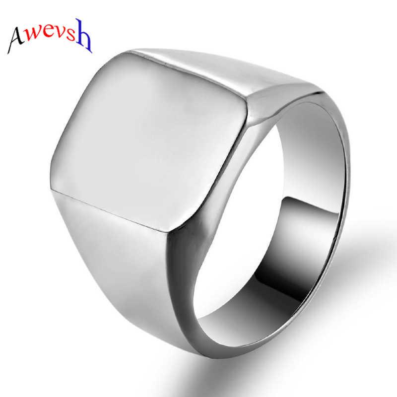 Awevsh Smooth ผู้ชายสีดำ Rock Punk แหวน Cool แฟชั่น Signet แหวนผู้ชายเครื่องประดับ