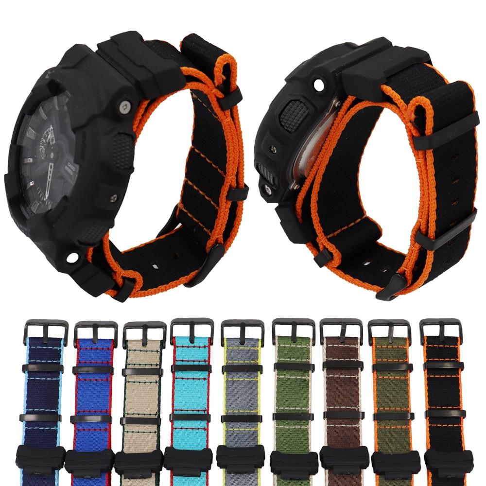 Nylon Canvas Strap Watchband For Casio G-Shock GA-110/100/120/150/200/400 GD-100/110/120 DW-5600 GW-6900 Bracelet Wrist Band