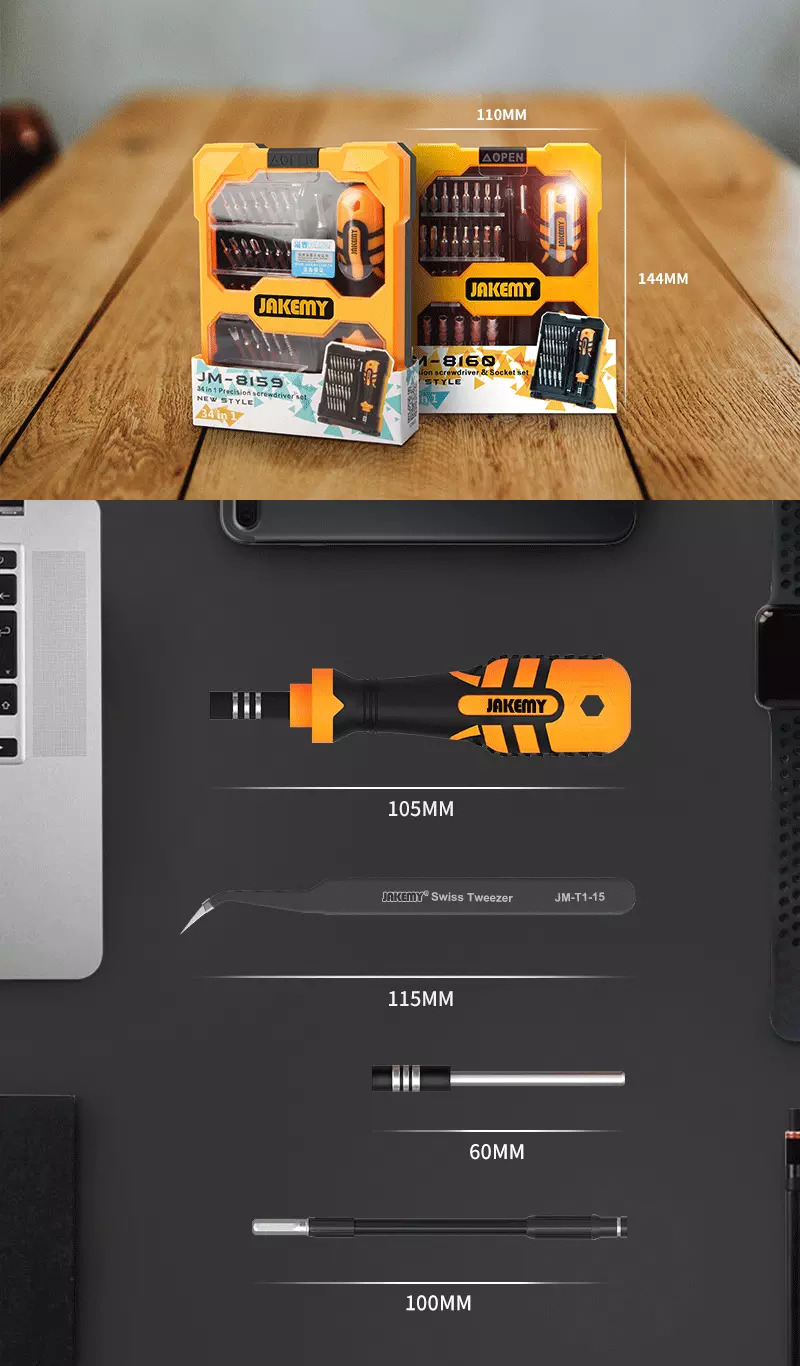 JAKEMY 33 in 1 Multi-functional DIY hand tool precision screwdriver with socket set for cellphone laptop game pad repair