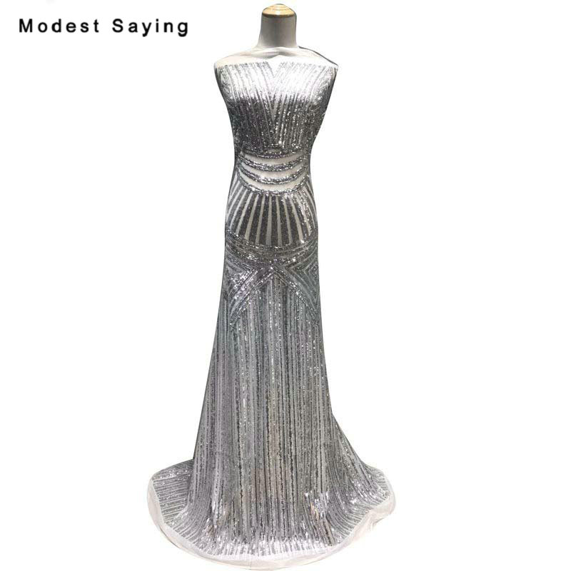 5 Yards Shiny Silver Sequins Fabric For Evening Dresses 2019 Embroidered Mesh Cloth Wedding Party Prom Gowns Net Lace Material
