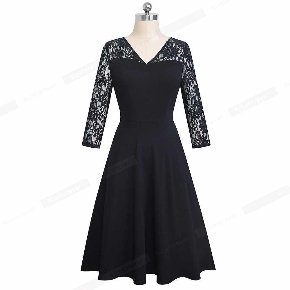 Хороший-forever сексуальный пэтчворк с цветочным кружевом черный vestidos деловые вечерние осенние элегантные расклешенные женские платья A167