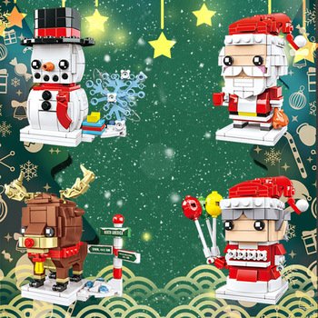02022 kid toys 2080pcs city toys the legoing 10184 town plan set building blocks bricks new toys model for kids christmas gifts 2020 New Christmas Santa Claus Elk Snowman Model Bricks Headz Toys Figure Building Blocks Bricks Toys For Children Gifts