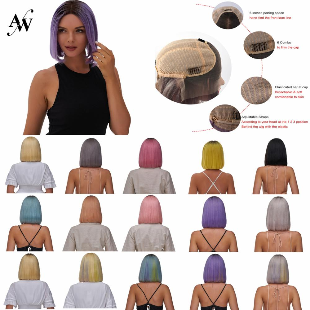 AW 10'' HD Transparent Remy Human Hair Wig Pre Plucked Hairline Short Bob Lace Front Half Lace Wig For Women 150% Density