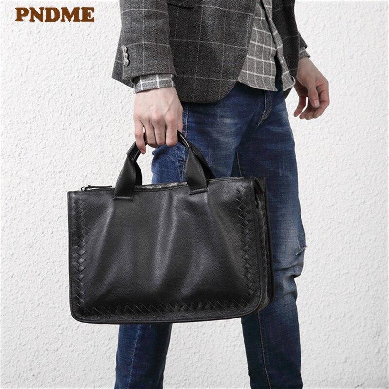 PNDME Fashion Casual Hand-woven Genuine Leather Men Women's Briefcase Designer Soft Cowhide Business Laptop Shoulder Bag Handbag