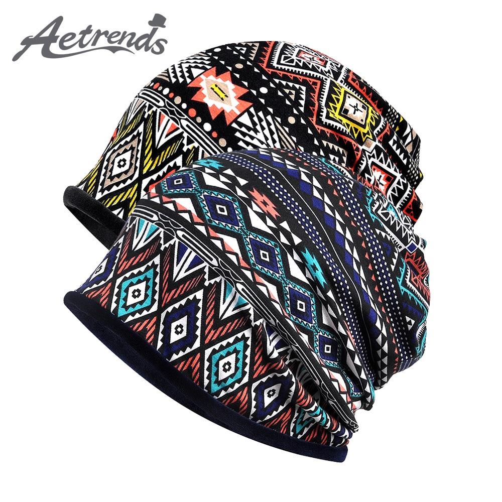 [AETRENDS] Multi-function Velvet   Skullies     Beanies   for Warm Collar Scarf Winter   Beanie   Hats for Women Men Sport Baggy Cap Z-6665