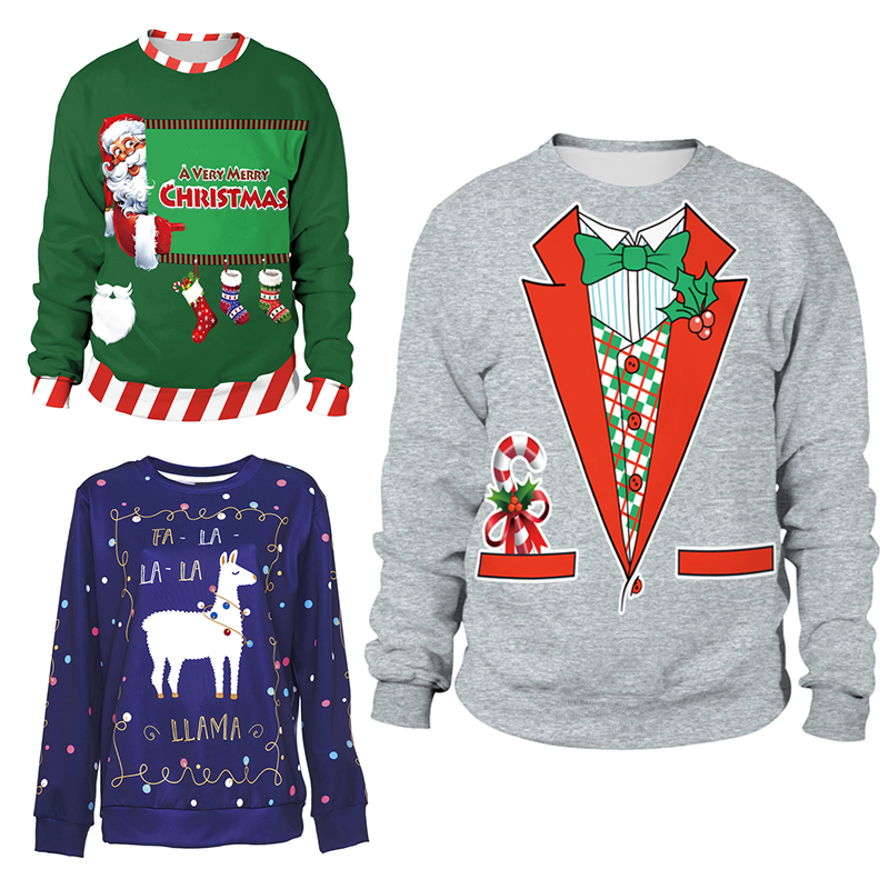 2019 Ugly Christmas Sweater Santa Elf Funny Pullover Womens Mens Hoodies Sweaters Tops Autumn Winter Clothing