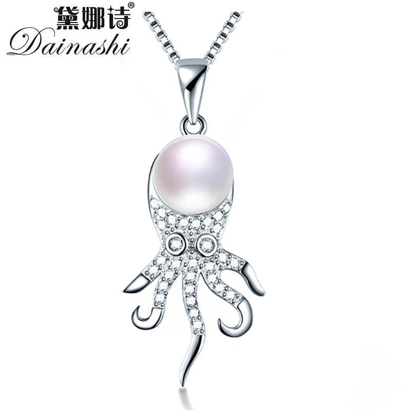 Dainashi Top Quality 925 Sterling Silver Octopus Zircon Pendant Jewelry 100% Genuine Natural Freshwater Pearl Necklace For Women