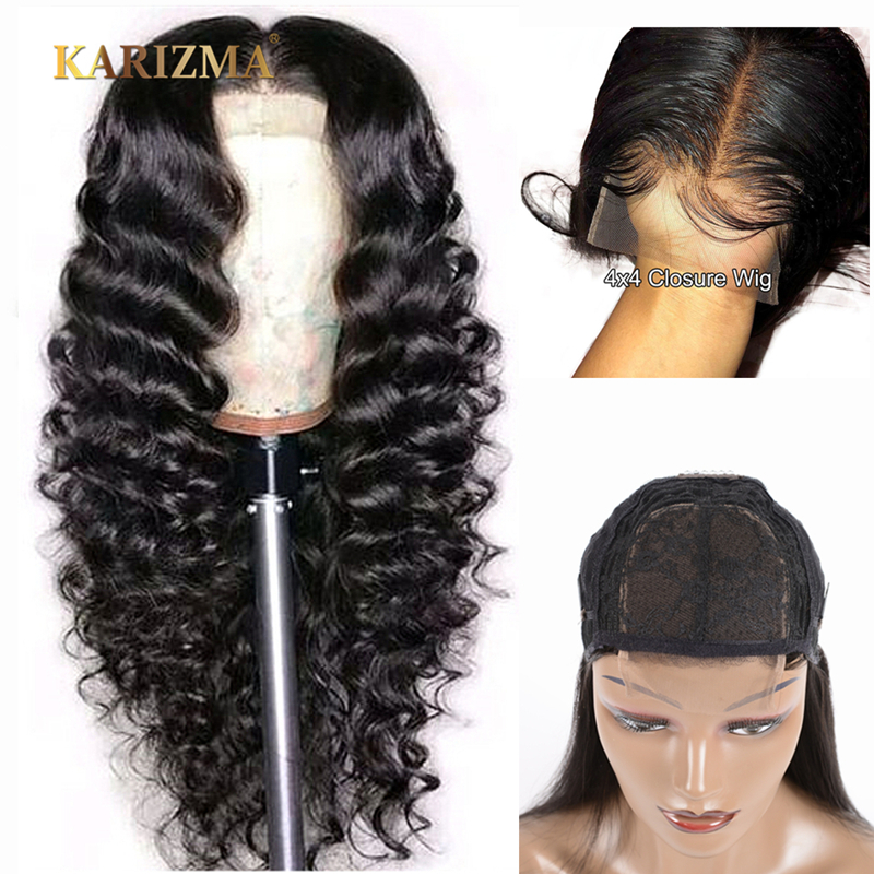 4x4 Lace Closure Wig Brazilian Loose Deep Wave Lace Human Hair Wigs For Black Women Remy Lace Closure Wigs With Baby Hair