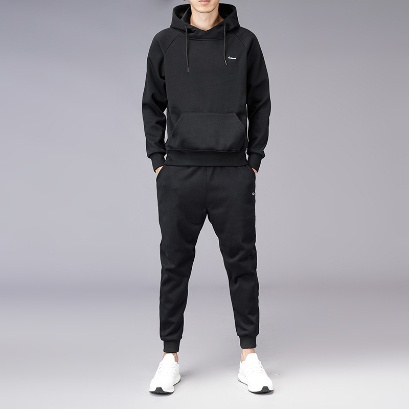 Hot Selling Spring And Autumn MEN'S Pullover Hoody Hooded Leisure Sports Suit Two-Piece Set Running Fitness Clothes Solid Color