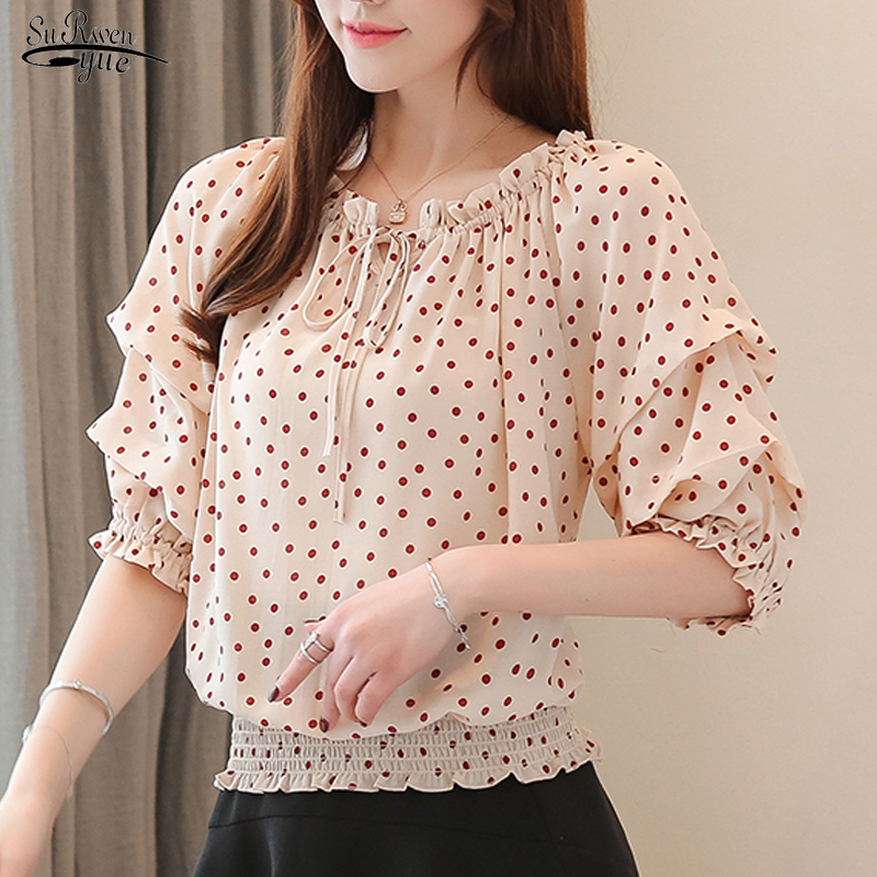 2020 Summer Women Tops And Blouses New Style Sweet Chiffon Shirt Off-Shoulder Red Dot Short Sleeve Blouse Women Blusas 8640 50
