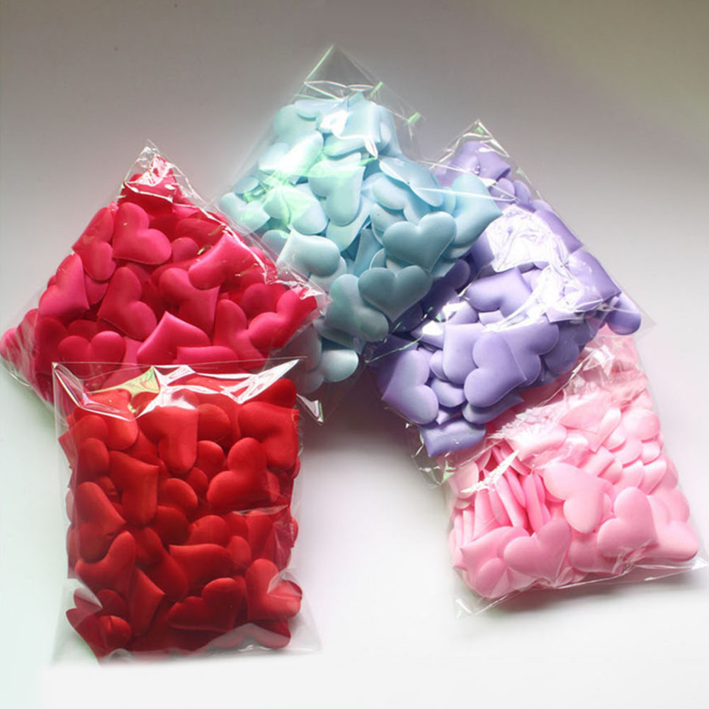 2cm About 100pcs/ Bag Wedding Supplies Heart Shaped Throwing Flowers Wedding Valentine's Day Scatter Flowers Three-Dimensional S