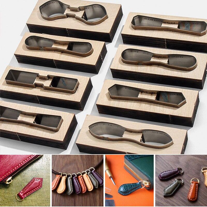 Troquel de corte afilado para cuero repujado para álbum de recortes, Leathercraft DIY Plantilla de madera cuchillo punzón herramienta llave cremallera accesorios Make