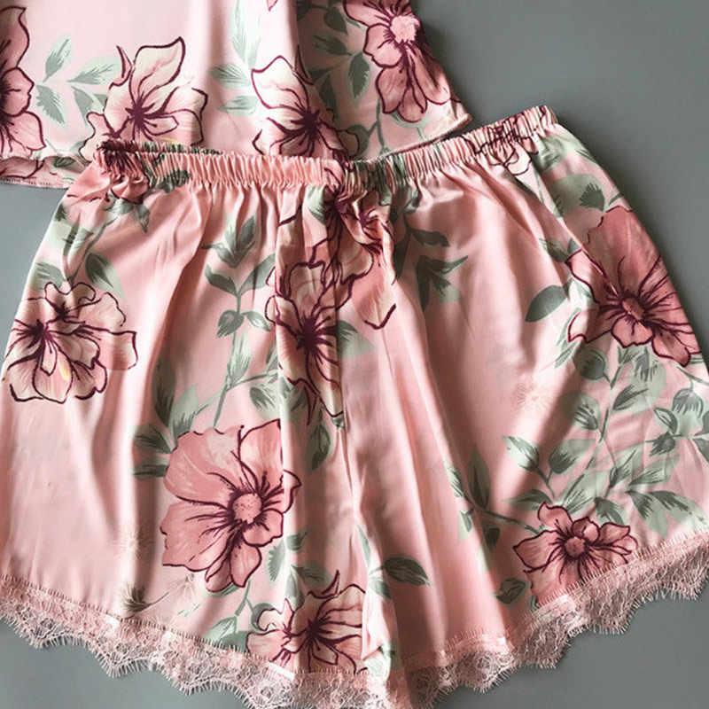 Sexy Print Pyjamas Für Frauen Sling Top UND Shorts Spitze Patchwork frauen Pyjamas Set 2020 Sommer Nachtwäsche Damen Hause kleidung