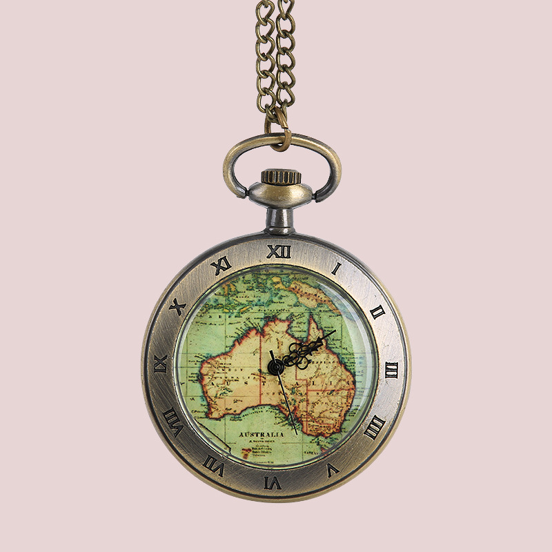 8098European And American Fashion Retro Pocket Watch With Necklace  Vintage Large 12 Constellation Map Unique Pocket Watch