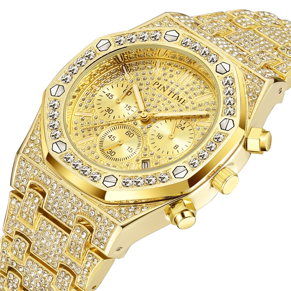 Iced Out Hip Hop Mens Watches Diamond Men Luxury Business Chronograph Royal Date Dive Sports Military Watch Reloj De Hombre