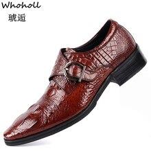 Whoholl Men Leather Dress Shoes Design Brand Classic Tassel Brogue Mans Footwear Formal Bullock Big Size 39-48