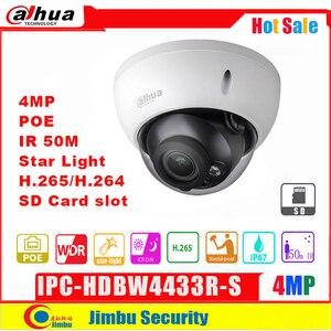 Image 1 - Сетевой видеорегистратор Dahua IP Камера 4MP POE IPC HDBW4433R S H2.65 ночное видение, ночное видение, IR50M с микро SD карты памяти 128G IP67, IK10 камеры видеонаблюдения Камера