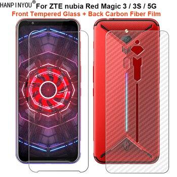 Перейти на Алиэкспресс и купить Для ZTE nubia Red Magic 3 3s 5G 1 комплект = мягкая задняя пленка из углеродного волокна + ультратонкая Защитная пленка для переднего экрана из закаленно...