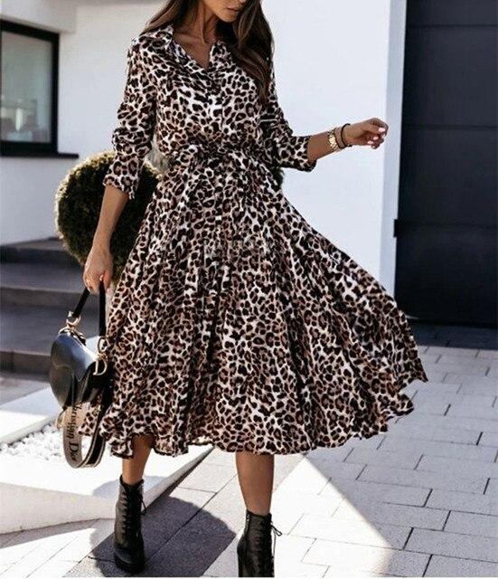 Casual Long Sleeve Split Leopard Print Dress 3