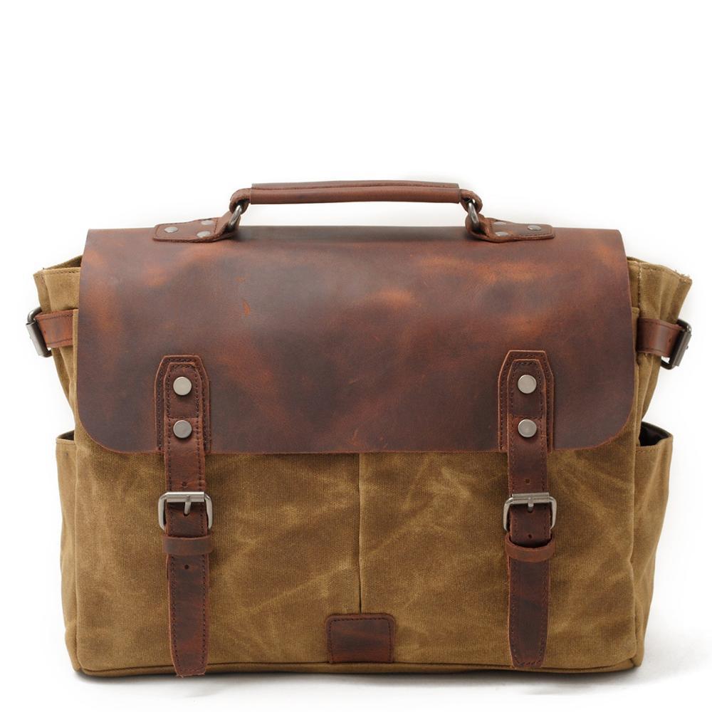 5.6 Inch Messenger Bag For Mens Vintage Canvas Leather Laptop Messenger Bags Men Business Briefcase Vintage Large Shoulder Bag
