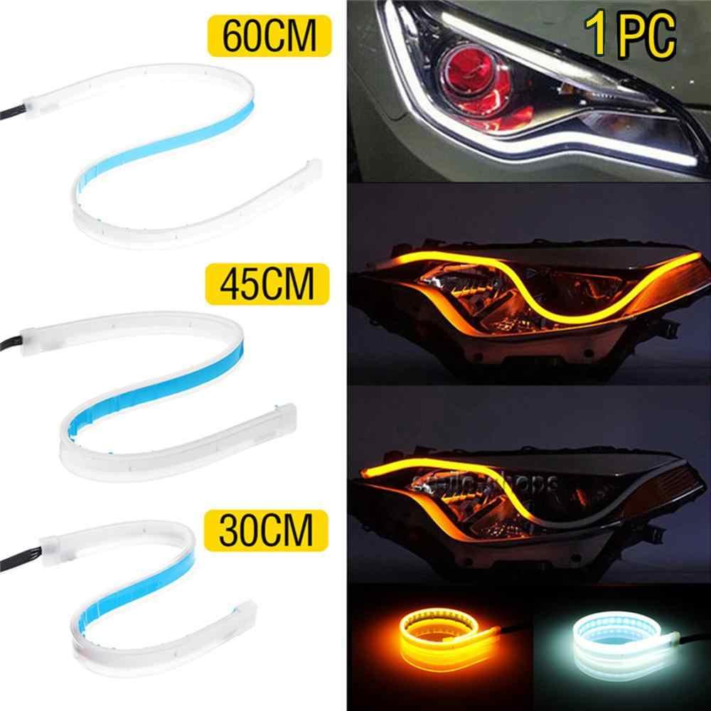 1 stücke Auto Zubehör Tag Zeit Läuft Streifen LED Drehen Signal Universal Weichen Schlauch Scheinwerfer Streifen CSV