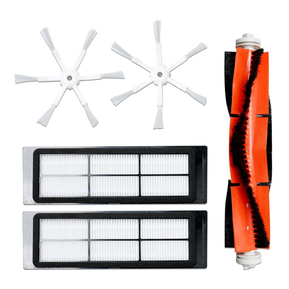 2pcs 6 Arms Side Brushes+2pcs Washable Hepa Filter+1pcs Main Brush For Xiaomi/Roborock S50 S51 S55 Robot Vacuum Cleaner Parts