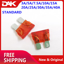 100PCS STANDARD Size kit Blade fuse Automobile Car fuse Include Ampere : 3A/5A/7.5A/10A/15A/20A/25A/30A/35A/40A Each 10 pieces цена и фото