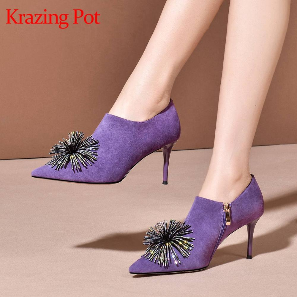 Krazing pot high quality kid suede pointed toe thin high heels rhinestone flower shiny purple daily wear early spring pumps L11