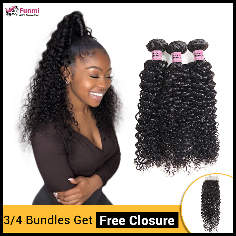 1/3/4 Kinky Curly Hair Bundles With Free Closure Brazilian Hair Weave Bundles 100% Human Hair Bundles Funmi Hair On Sale