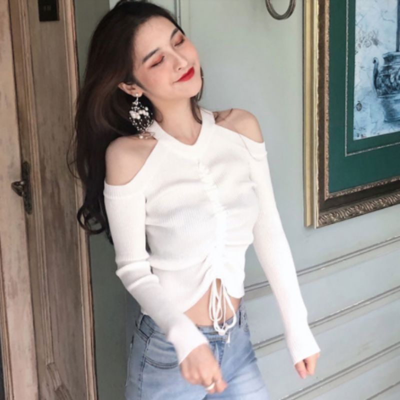 Women's Clothing Halter Off Shoulder Drawstring Lace Up Sweaters White Pleated Long Sleeve Solid Knitting Thin Jumper