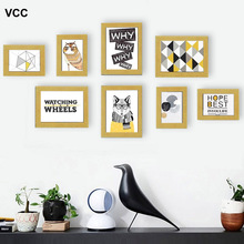 8 Pcs Classic Photo Frame For Wall Hanging Home Decor Wedding Couple Recommendation Black Wood White Pictures Frames