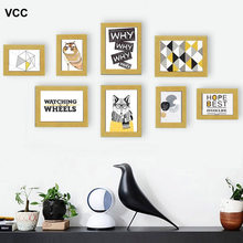 8 Pcs Classic Photo Frame For Wall Hanging Home Decor Photo Wall Wedding Couple Recommendation Black Wood White Pictures Frames(China)