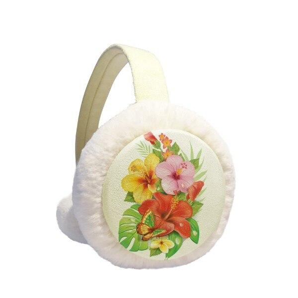 Bouquet Flowers Butterfly Best Wish Winter Earmuffs Ear Warmers Faux Fur Foldable Plush Outdoor Gift