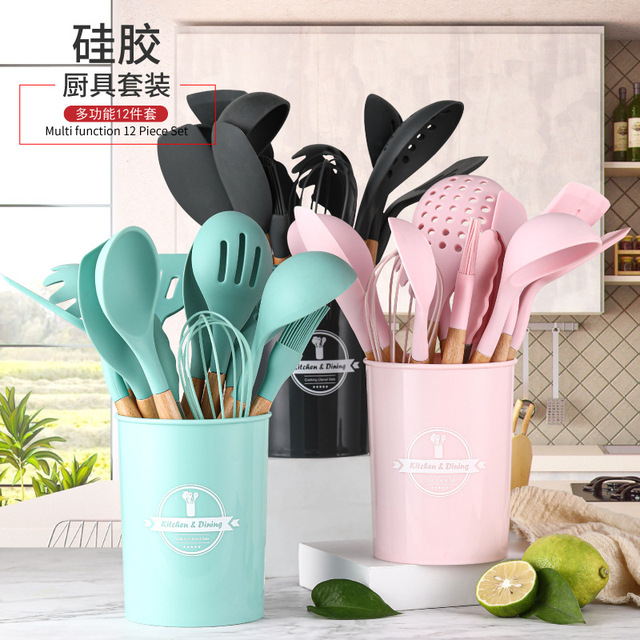 11pcs Silicone Kitchenware Cooking Utensils Set Heat Resistant Kitchen Non-Stick Cooking Utensils Baking Tools With Storage Box 2