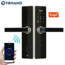 Tuya fechaduras de porta inteligente impressão digital à prova dkeyágua app keyless usb recarregável fechadura da porta