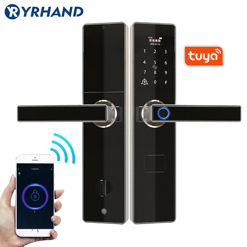 Tuya Smart Door Locks Fingerprint  Waterproof App Keyless Usb Rechargeable Digital Door Lock