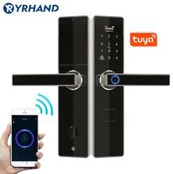 Tuya smart door locks huella digital aplicación impermeable sin llave usb recargable cerradura de puerta digital