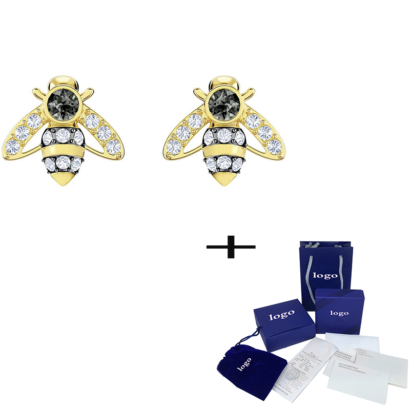 SWA  Fashion High Quality Crystal Bee Ear Stud Personality Simple Ladies Luxury Jewelry To Give Girlfriend Anniversary Gift