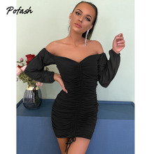 Pofash Ruched Off Shoulder Autumn Dresses Women Sexy V Neck Backless Drawstring Puff Sleeves Mini Dress 2020 Solid Bodycon Dress
