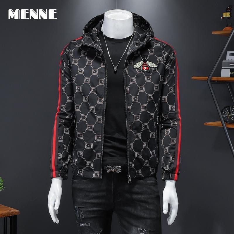 2021 New arrival jackets men fashion print Men jacket hooded zipper Casual jacket for men