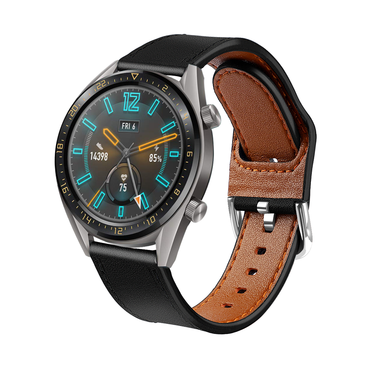 Genuine Leather Watch Bands Compatible With Huawei GT2 46mm Leather Watch Straps Replacement Watchbands For 22mm Watch 73001