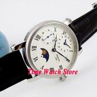 Parnis 42mm GMT handaufzug herren uhr Mond Phase Datum display wasserdicht weißes zifferblatt blau hände lederband p60A|watch 42mm|watch awatch men -