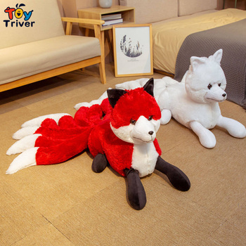 Hot Red Nine Tailed Fox Plush Toys Stuffed Animals Doll Kyuubi Kitsune Kids Childen Adults Girls Birthday Gifts Home Room Decor image