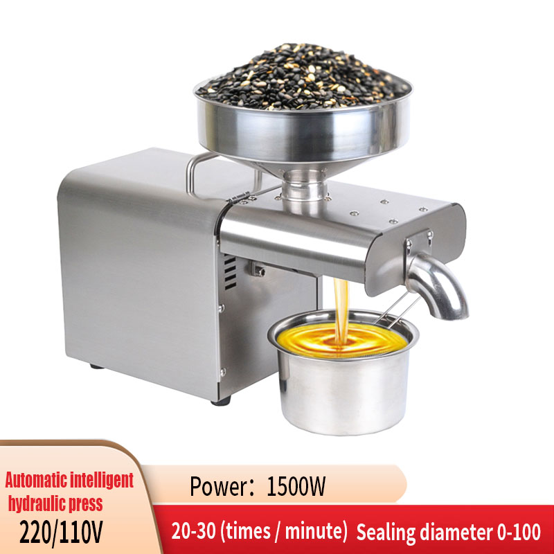 110V / 220V 1500W(Max) Automatic Cold Press Temperature Controlled Peanut Coconut Oil Press, Sunflower Seed Oil Press